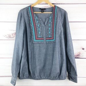 T299 Style & Co Chambray Embroiderd Boho Style Top